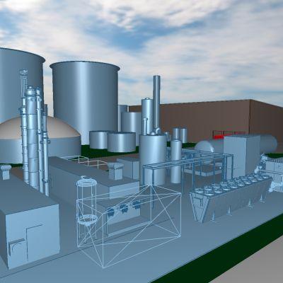 Havainnekuva Nurmon biokaasulaitoksesta.
