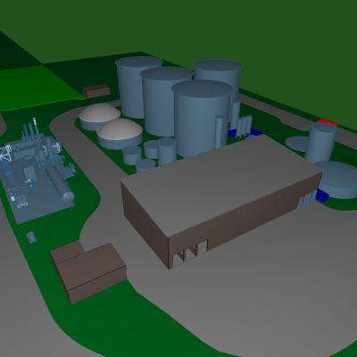 Nurmoon rakennettavan biokaasulaitoksen havainnekuva.