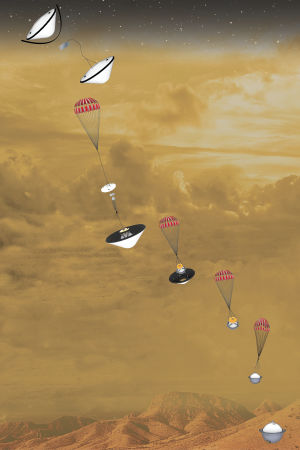Kaavakuva siitä, miten DAVINCI putoaa alas Venuksen pinnalle.