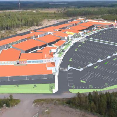Havainnekuva Zsar Outlet -ostoskylästä, jonka ykkösvaihe koostuu noin 12 000 neliön vuokrattavista kaupan tiloista.