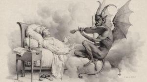 Djävulen spelar violin för Giuseppe Tartini i en dröm. Målning av Louis-Léopold Boilly (1761-1845).