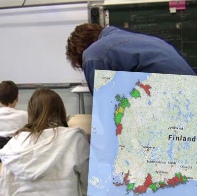 Karta över kommunernas sparplaner gällande skolgångsbiträden