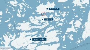 En blågrå karta som visar Mossala, Björkö och Houtskär.