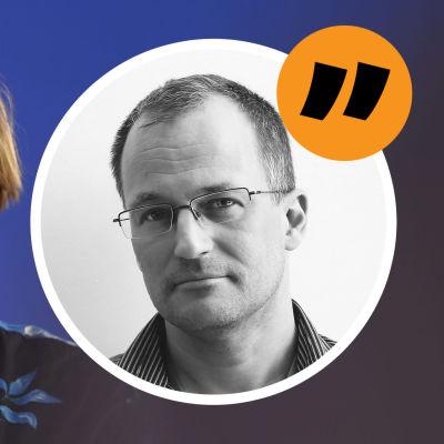 Vetenskaps- och kulturminister samt blivande finansminister Annika Saarikko (C) med ett svart munskydd. Ovanpå bilden på Saarikko en bild på redaktör Markus Ekholm och ett citattecken. Bildmontage.