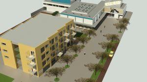 Ett bildmontage som visar hur busstationens perrongområde i Karis kan se ut i framtiden.