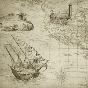 Gammal svartvit karta med tåg, luftballong och droska