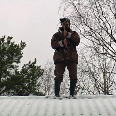 Fågelskådare på taket