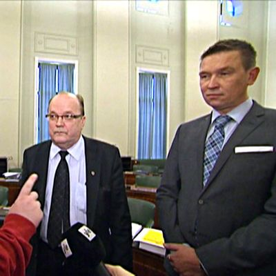 Sami Helle från PKN, Tapani Tölli (C), Tom Packalén (Sannf) i Ajankohtainen kakkonen 3.4.2015