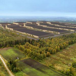 Pressbild från Northvolt över hur det planerade fabriksområdet i Skellefteå ska se ut.