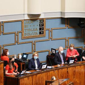 Regeringen sitter framför tavlan med omröstningsresultatet efter riksdagens omröstning om EU:s stimulansfond.