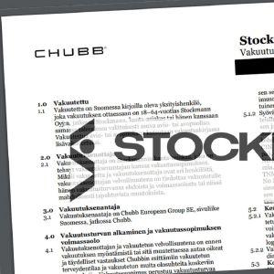 Bildkollage på försäkringsvillkor och Stockmanns logo.