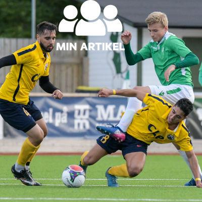 EIF:s Simon Lindholm och CLE:s Misael Rearte fajtas om bollen.