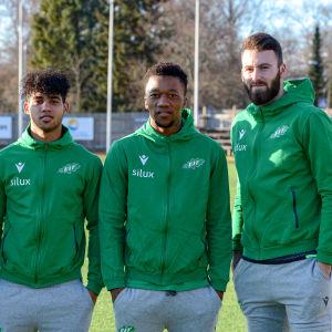 EIF:s nya spelare. Från vänster:  Zachary Sukunda, Darren Smith, Aya Ayabulela Konqobe, Yann Fillion