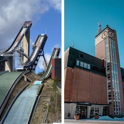 Yhdistelmäkuva Lahden hyppyrimäestä, Puijon tornista ja Harjun tornista.