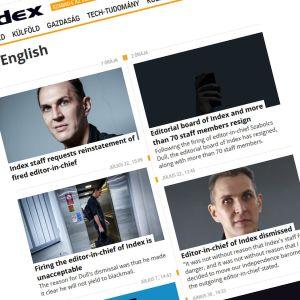 Skärmdump på Index nyhetssajt. På bilden syns flera personer.