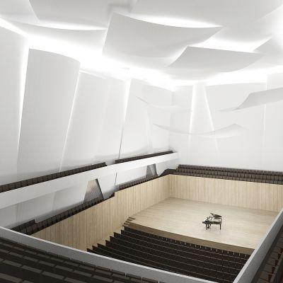 Havainnekuva suunnitellusta konserttisalista.