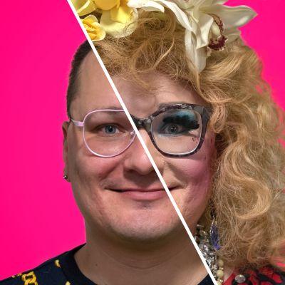 Drag-artisti Timo Tähkänen ilman meikkiä ja dragissa.