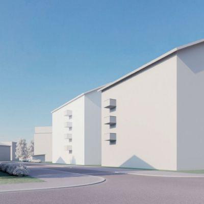 Havainnekuva Vapaakirkon paikalle tulevasta kerrostalosta Tapionkadun risteyksestä katsottuna.