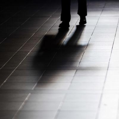 Ihmisen varjo heijastuu katukiveyksestä.