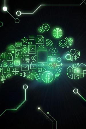 Erilaisista digitaalisista ikoneista tehty jalanjälki, joka heijastuu vihreänä