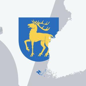 Grafik med karta över landskapet Åland och en penningpåse