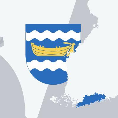Grafik med karta på landskapet nyland och en penningpåse