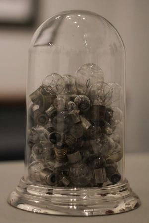 Glödlampor i en glaskupa.