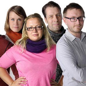 """Johan Gullmets, Eva-Maria Koskinen, Kia Svaetichin, Petri Kola, Alexander Uggla och Peter Sjöholm är journalisterna bakom Svenska Yles öppna granskning """"Fixa högskolan"""""""