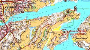 Fågeltornets placering på kartan.