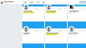 Skärmdump på några konton som följer Pekka Haavisto.