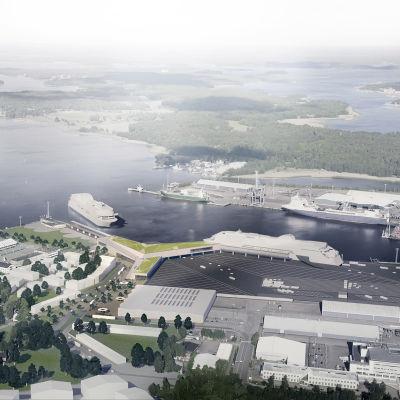 modellbild över åbo hamn