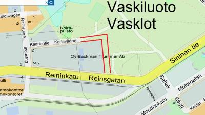 Karta som visar det nya vägavsnittet av Karlavägen på Vasklot i Vasa.
