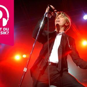 David Bowie håller i och sjunger i en mikrofon som är i en mikrofonställning.