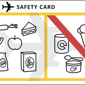 Kortti, jossa näkyy mitä ruokia saa ja ei saa kuljettaa lentokentän läpivalaisun kautta
