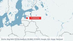 Karta med Turaida i Lettland