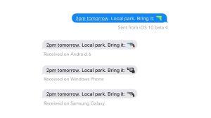 Samma meddelande sett på fyra olika telefoner. De innehåller alla en pistolemoji. På en iPhone är pistolen en vattenpistol medan den i de övriga meddelandena är en riktig revolver.