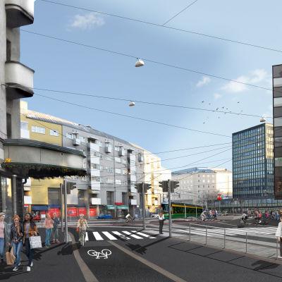 Visualisering av hur Tavastvägen ska se ut efter renoveringen.