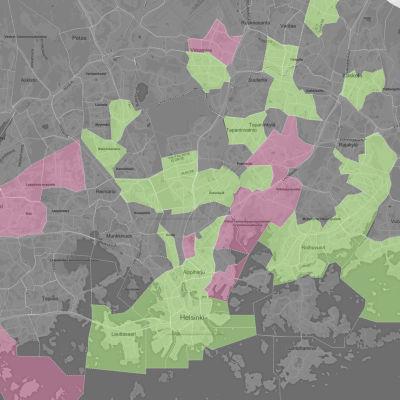 Skrämdump på Yles grafik på våldsbrott i huvudstadsregionen.
