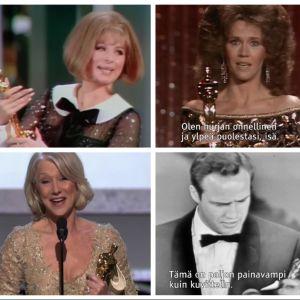 Kollaasi Oscarin saajista eri vuosilta, kuvakaappauksia dokumenttielokuvasta Ja Oscarin saa...