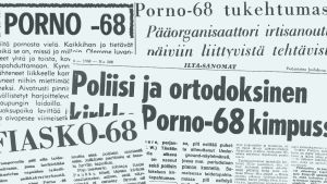 Lehtileikkeitä Tampereella 1968 pidetystä Porno-68-tapahtumasta.
