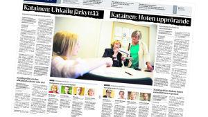 Tvåspråkigt uppslag i tidningen Helsingin Sanomat