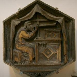 En avbildning av Jubal, mänsklighetens första musiker.