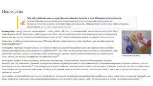 ruutukaappaus Wikipedian homeopatia-artikkelista