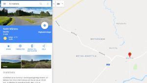 Google Maps hittar kommunen med det vedertagna svenska namnet S:t Mårtens.
