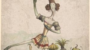 En sparris dansar grönsaksbalett. Melle. Fitz-James, de l'Académie royale de musique, rôle d'une asperge dans un ballet de légumes.