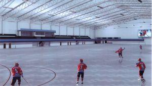 Skiss på den planerade bandyhallen i Malm.