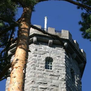 Aulangon graniittisen näkötornin huippu sinitaivasta vasten.