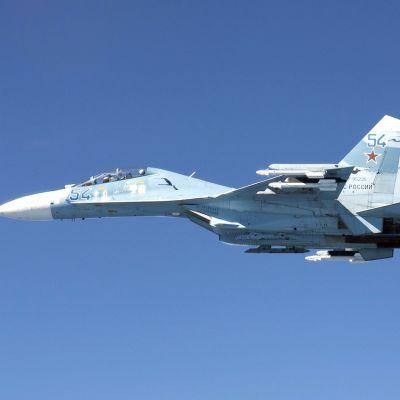 Venäläinen Suhoi Su-27 Itämeren ja Suomenlahden kansainvälisessä ilmatilassa.