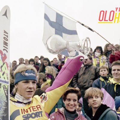 Kolme kisaa neljästä voittanut Toni Nieminen juhli Keski-Euroopan mäkiviikon voittoa 1992.
