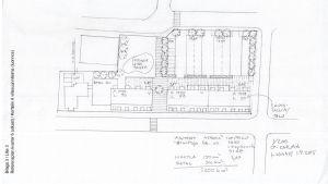 En skissteckning som visar hur husen i framtiden kan placeras på tomten vid Centralgatan mittemot Fokus i Karis centrum.